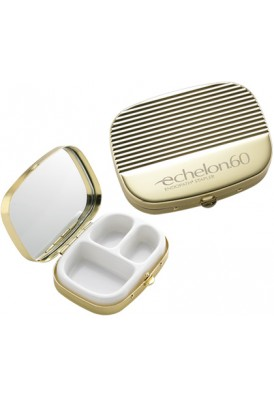 Gold Ribbed Cover Pill Box