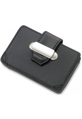 Angela Black Leatherette Card Case