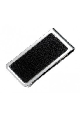 Silver and Leatherette Money Clip