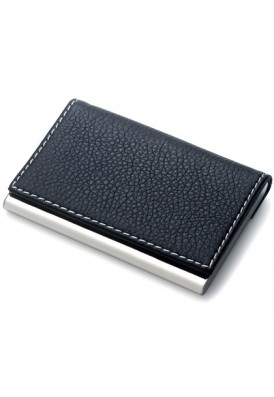 Textured Leatherette and Metal Card Case
