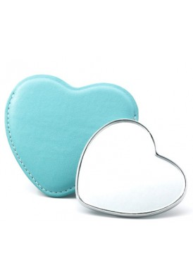 Heart Shaped Mirror with Leatherette Sleeve