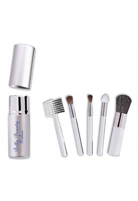 Silver 5 Piece Travel Cosmetics Brush Case