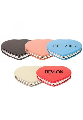 Soft Leatherette Heart Shaped Compact Magnetic Mirror