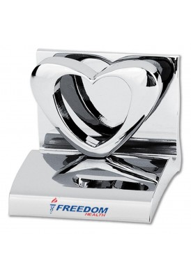 Silver Heart Business Card Holder