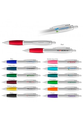 Contoured Matte Silver and Color Accented Pen