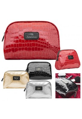 Faux Croc Cosmetics Zippered Case