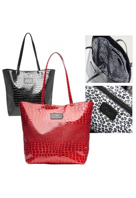 Faux Croc Tote Bag with Signature Liner