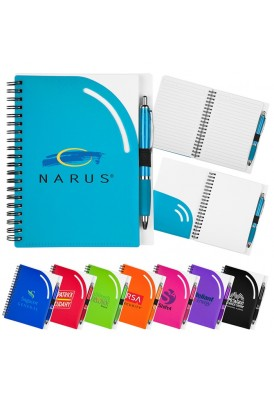 Color Play Curvature Spiral Notebook with Front Pocket