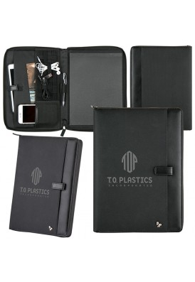 Modern Elite Ballistic Nylon Zippered Portfolio with Tech Gear Feature