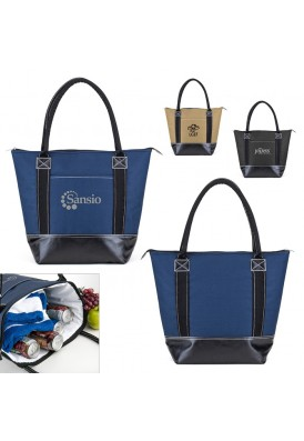 Insulated Fashion Cooler Tote with Leatherette Base