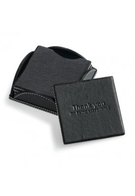 Set of 4 Black Leatherette Promotional Square Coasters