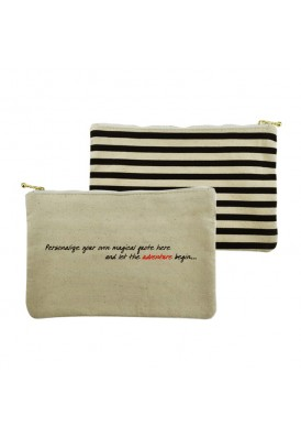 10 Oz Canvas Zippered Pouch in Stripes Gold Zipper
