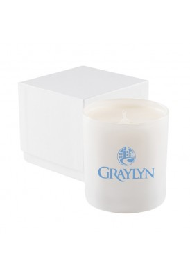 Premium High End 11Oz White Glass Candle in 2 Pc Gift Box - PHE