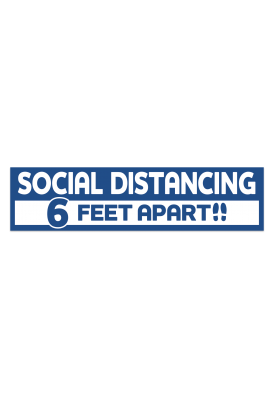 COVID-19 Floor Social Distancing Six Feet Decal 15x3.75 Inch