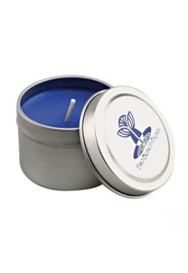 2 Oz Silver Travel Promo Candle Tin - VLUE (Value)