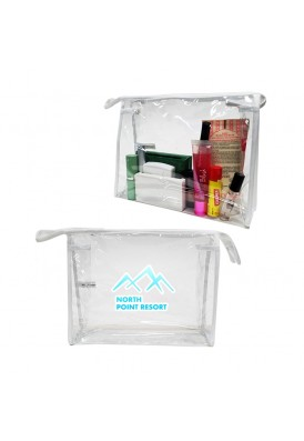 Simple Top Zippered Clear Vinyl and White Trim Travel Cosmetics Bag