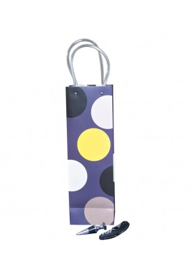 Wine Opener and Stopper, Polka Dot Bag