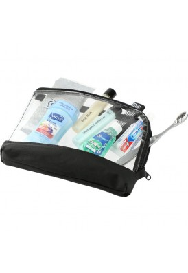 Two-Tone Clear Vinyl Zip Around Cosmetics Case