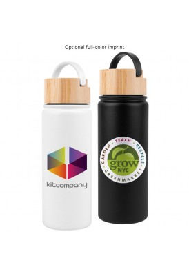 20 Oz Modern Matte Black Stainless Steel Water Bottle with Bamboo Lid