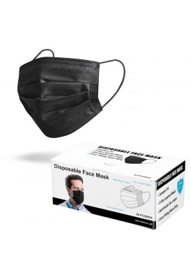 Black Disposable 3-Ply Face Mask
