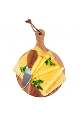 Small Round Cheese Board 3 Piece Set with Knives