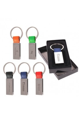 Colorplay Leatherette and Silver Key Chain
