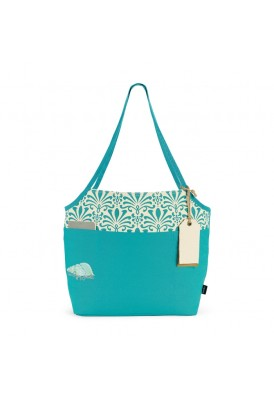 8 Oz Canvas Two-Tone Accented Fashion Tote - Teal Blue