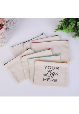 7 Oz. Cotton Canvas Flat Zippered Pouch Colored Zipper