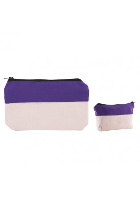 Cotton Canvas Two-Tone Zippered Pouch