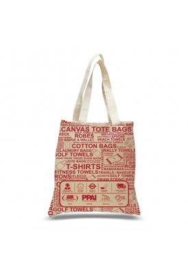 12 Oz Canvas Cotton Tote with Edge-to-Edge Printed Large Gusseted Bag
