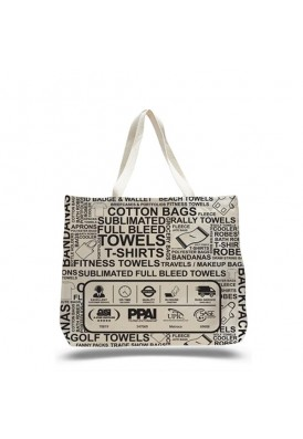 Heavy 12 Oz Cotton Canvas Wide Tote Bag with Edge-to-Edge Printing