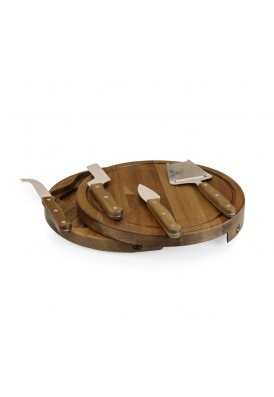 Real Acacia Wood Round Cheese Board 5 Pc Set