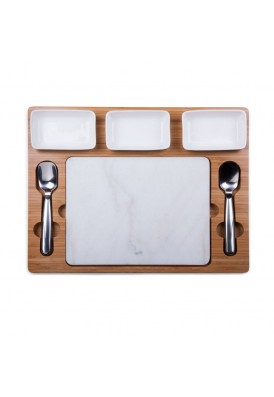 Marble and Bamboo Cutting Board for Ice Cream Mixing
