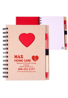 Recycled Spiral Notebook with Heart Die Cut Window 5.875 x 7