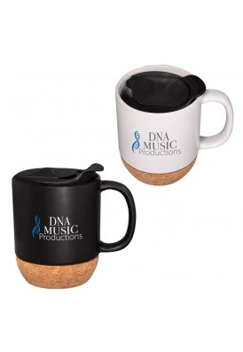 14 Oz Cermamic Rounded Style Mug with Cork Base and Slider Lid