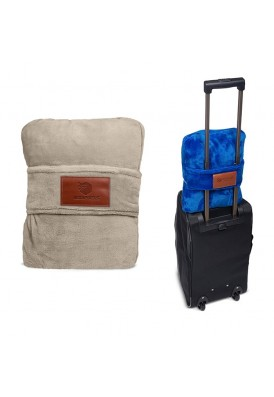 Travel Pillow Blanet for Travelers with Sliding Strap Feature