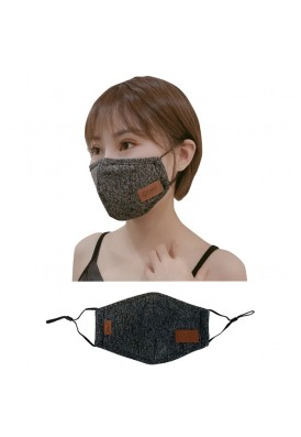 Designer Leeman Face Mask Mouth Covering with Leatherette Logo Patch