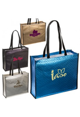 Metallic Laminated Shopper Tote in 4 Colors