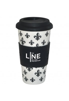 18 Oz Ceramic Tumbler in Fleur de Lys Design