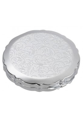 Silver Compact with Floral Design