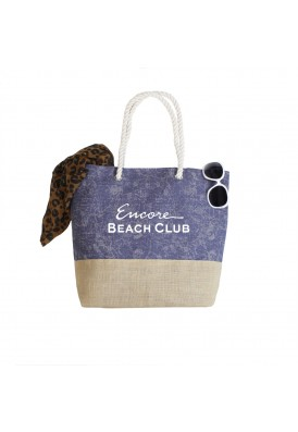 Blue Marbled Cotton Canvas and Jute Eco Tote