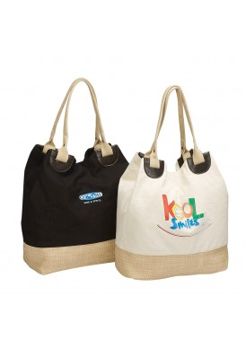 12 Oz Cotton Canvas Eco Tote with Leatherette and Straw Features
