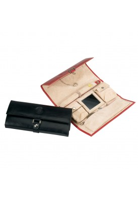 Leather Jewelry Roll with Buckle