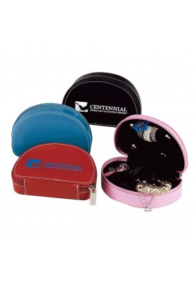 Colorplay Classic Leather Zippered Jewelry Case