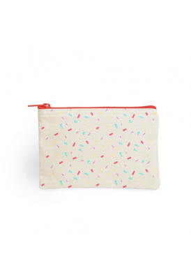 Basic Sturdy Canvas Pouch with Colored Zipper