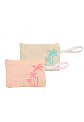 Designer Natural Style Straw Zippered Wristlet Pouch