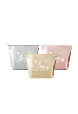 Rose Gold and Gold Metallic Vegan Leather Cosmetic Travel Pouch