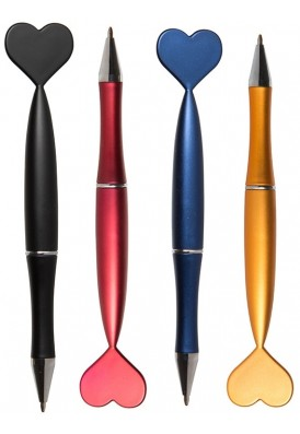 Matte Metallic Barrel Heart Adorned Ballpoint Pen