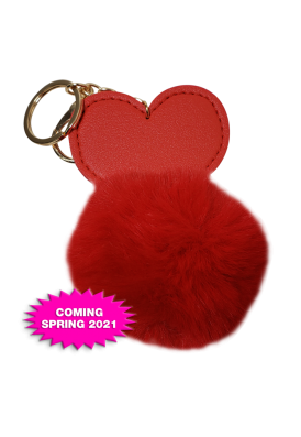 Plush Fuzzy and Leatherette Keychain