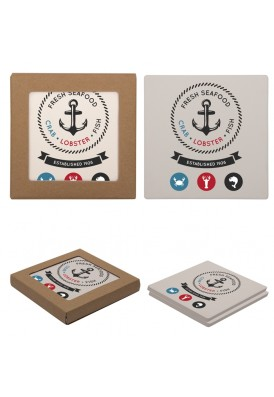 Set of 2 Stone Square Coaster with Cork Backing